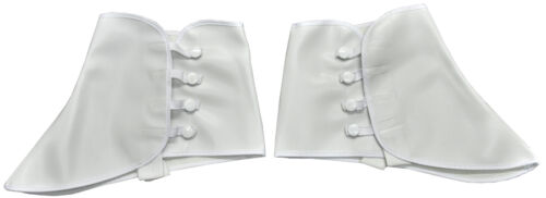 1920S ROARING 20'S WHITE VINYL DANCE GANGSTER COSTUME SHOE COVERS SPATS W/ SNAP