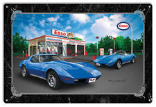 Chevys Diner Blue Hot Rod Metal Sign By Rudy Edwards   12x18