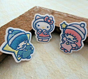 LOT-of-3-SANRIO-Hello-Kitty-Charmmy-Little-Twin-Stars-Embroidered-Lapel-Hat-Pins
