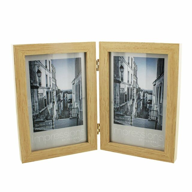 Impressions Natural Wood Double Hinged Portrait Photo Frame 4x6