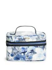 GUESS CIANNA VINYL BLUE+WHITE FLORAL,GOLD ZIP,TRAIN CASE,TRAVEL KIT,COSMETIC BAG