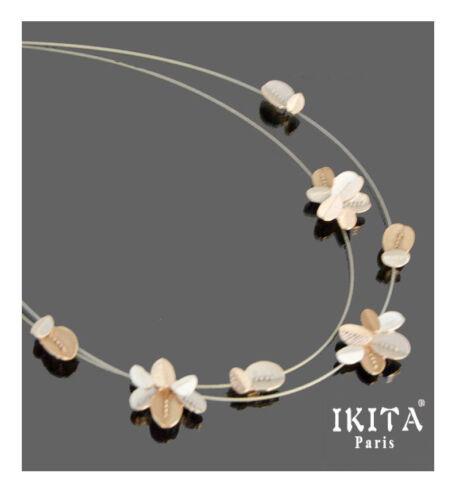 Luxus Halskette Ikita Paris Kette Kabel-Kette Metall Emaille Blatt Weiß//Rosa
