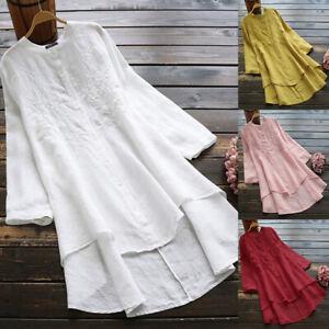 Mode-Femme-Chemise-100-coton-Manche-Longue-Asymetrique-Brodees-Haut-Shirt-Plus