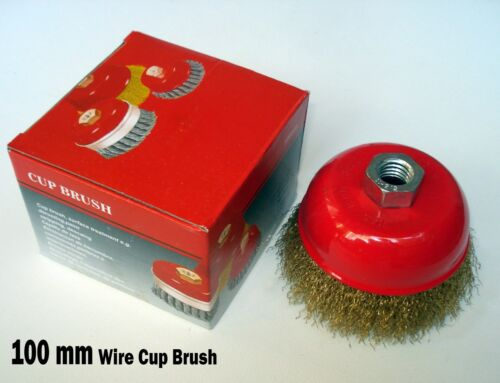 """4/"""" x 5//8/"""" Arbor FINE Crimped Wire Cup Wheel Brush For Angle Grinders"""
