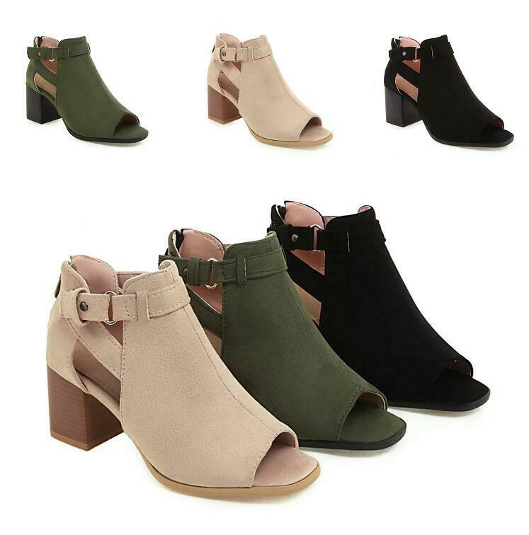 Womens Block High Heel Opne Toe Buckle Straps Ankle Boots Party New Sandal shoes