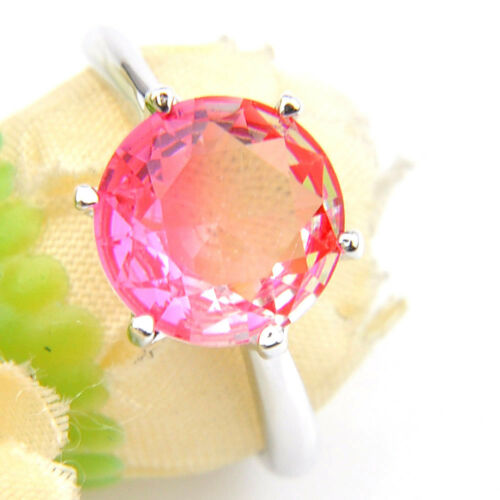 Handmade Jewelry Gift Sweet rose bi-couleur TOURMALINE GEMS Silver Ring Taille 7 8