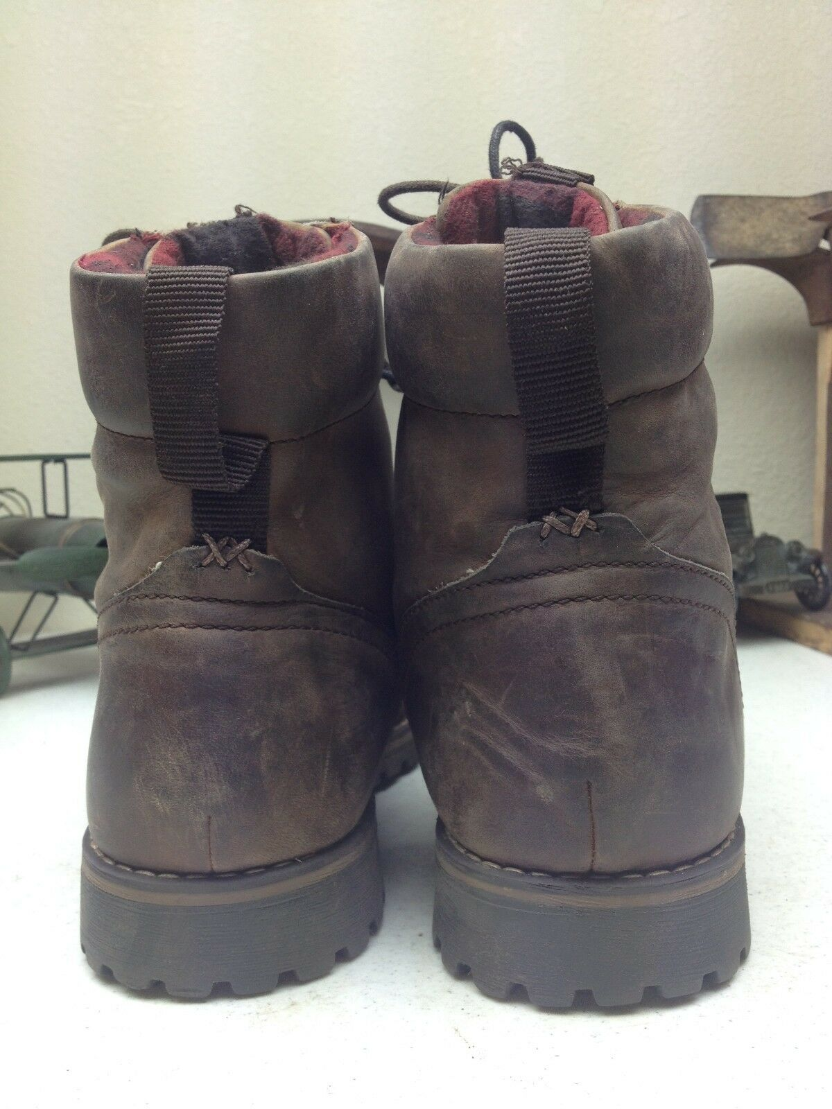 DISTRESSED NUNN BUSH Marroneee LEATHER LACE UP HIKING TRAIL WORK WORK WORK BOSS stivali 11 M f1e547