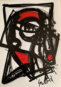 SEVARD Abstrakte Komposition Gemälde Zeichnung A4 Original Signiert Unikat N424