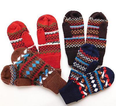 Ladies patterned mittens Vintage 1980s UNUSED Millington womens Size 6.5 7 7.5
