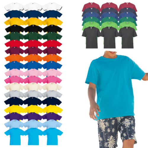 3er Set Fruit of The Loom Valueweight T Kids A Maniche Corte Girocollo Bambini T-shirt