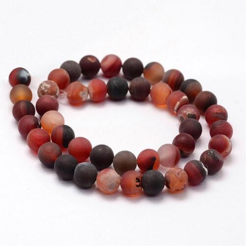 Natural indio achat perlas 6mm Frosted rojo alrededor de las piedras preciosas g734