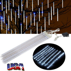 50cm-240LED-Lights-Meteor-Shower-Rain-8-Tube-Xmas-Snowfall-Tree-Outdoor-Light-US