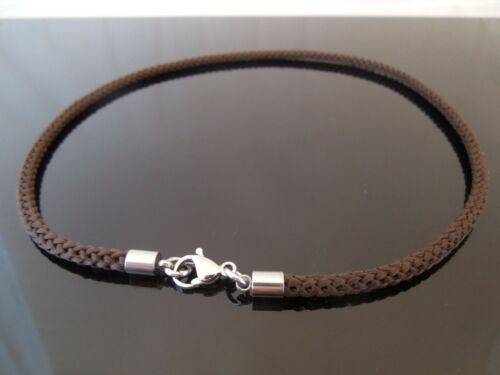 "4mm Brown Braided Silk Style Necklace ~ Stainless Steel 14/"" 16/"" 18/"" 20/"" 22/"" 24/"""