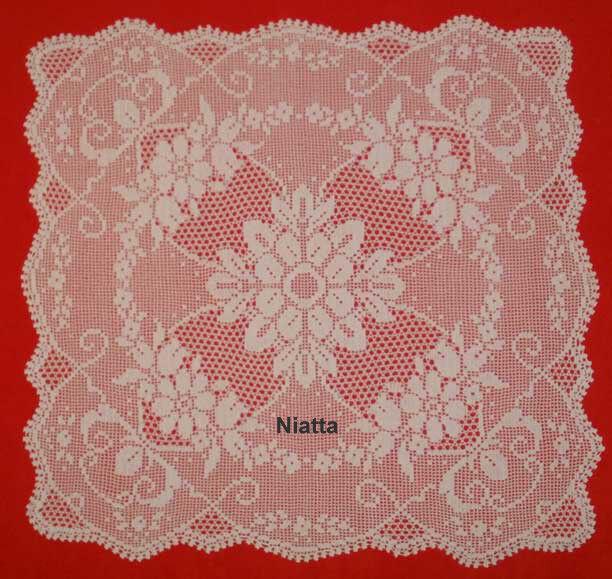 Filet Crochet Pattern Square Doily Tablecloth Chart Houseware Pdf