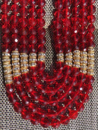 Diana De Silva Vintage Five Strand Red Gold Beaded
