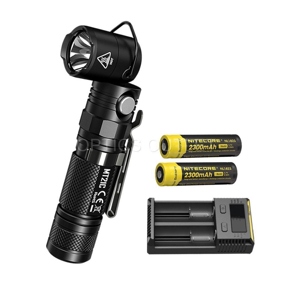 NITECORE MT21C 1000 Lumen Tiltable Head Flashlight w 2x 2x 2x Batteries & i2 Charger 2cef20