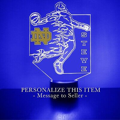 Notre Dame Fighting Irish Football LED Light Up Lamp Personalized FREE Engraved