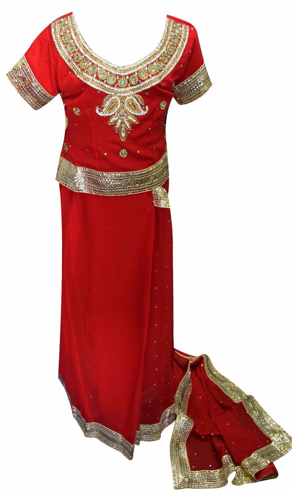 Indiano Bollywood Ragazze Ragazze Ragazze Tema Costume Bambini Lehenga Sarees Nozze 1d2594