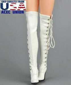 1//6 women shoes Brown Slope high heeled combat Boots for phicen hot toys ❶USA❶