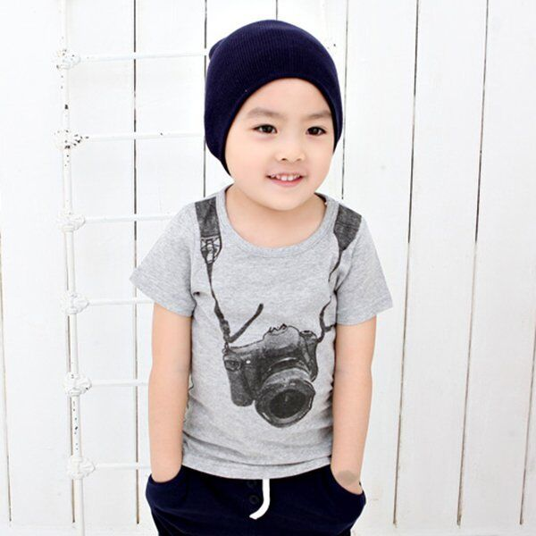 Kid Boys Camera Print Casual T-shirt Short Sleeve Summer Tops Clothes 2-7Y
