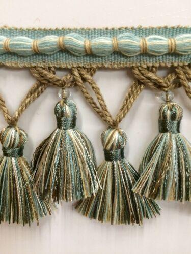 """3.5/"""" Fancy Hand Made Tassel Fringe Trim TF-56////39-3 Aqua /& Beige"""