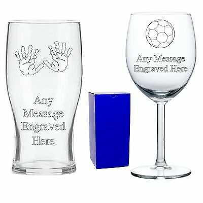 Personalised Engraved Pint Wine Glass 30th 50th Dad Grandad Birthday Gifts