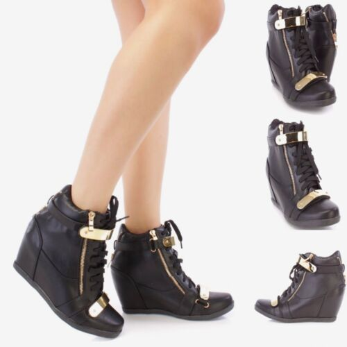Women Fashion Shoes High Top Ankle Boots Wedge Sneakers Hidden Heels Size S18