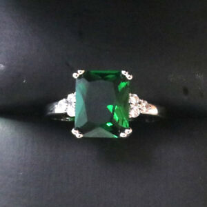3-Ct-Princess-Emerald-Ring-Women-Wedding-Jewelry-Gift-14K-White-Gold-Plated