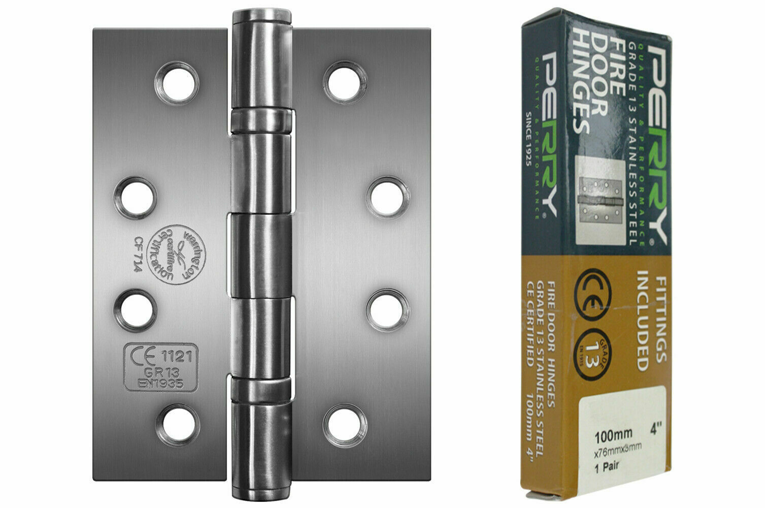 PERRY SATIN 100mm Stainless Steel Ball Bearing Fire Door Hinges Grade 11 D11
