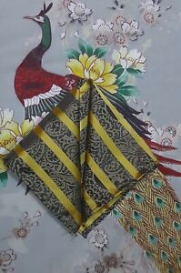 Nwot Men's All Silk Hand Made Pocket Square, Gold/Black/Gray, Paisley, Striped.
