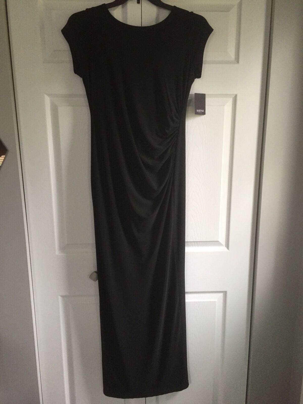 damen Marina dresses floor length schwarz short sleeve stretch dress Größe 10