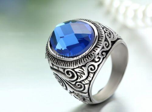 De colección para hombre Anillo Acero Inoxidable con Banda Ancha De Boda Promesa de piedra azul