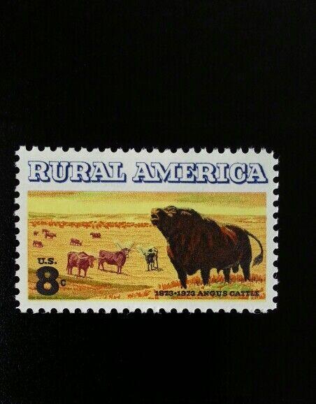 1973 8c Angus & Longhorn Cattle, Rural America Scott 15