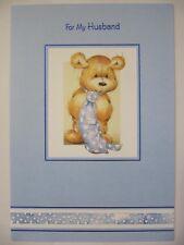 LOVELY Cute Teddy Bear in una cravatta per mio marito COMPLEANNO greeting card