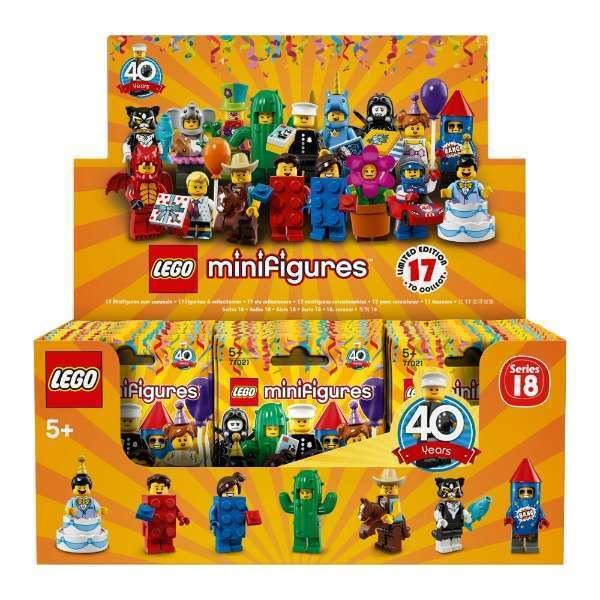 Lego Series 18 fall av Minifigurer Pkonsty 40 YR 60 pcs 71021, NY Oöppnad