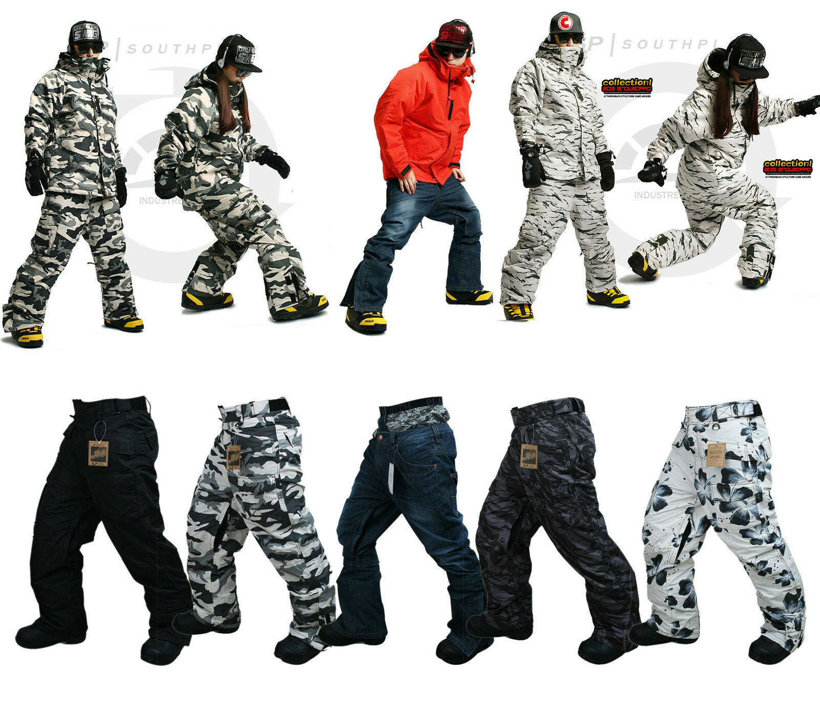 New Southplay Mens Winter  Premium Ski-Snowboard Total Military Pants Collection  cheap and top quality