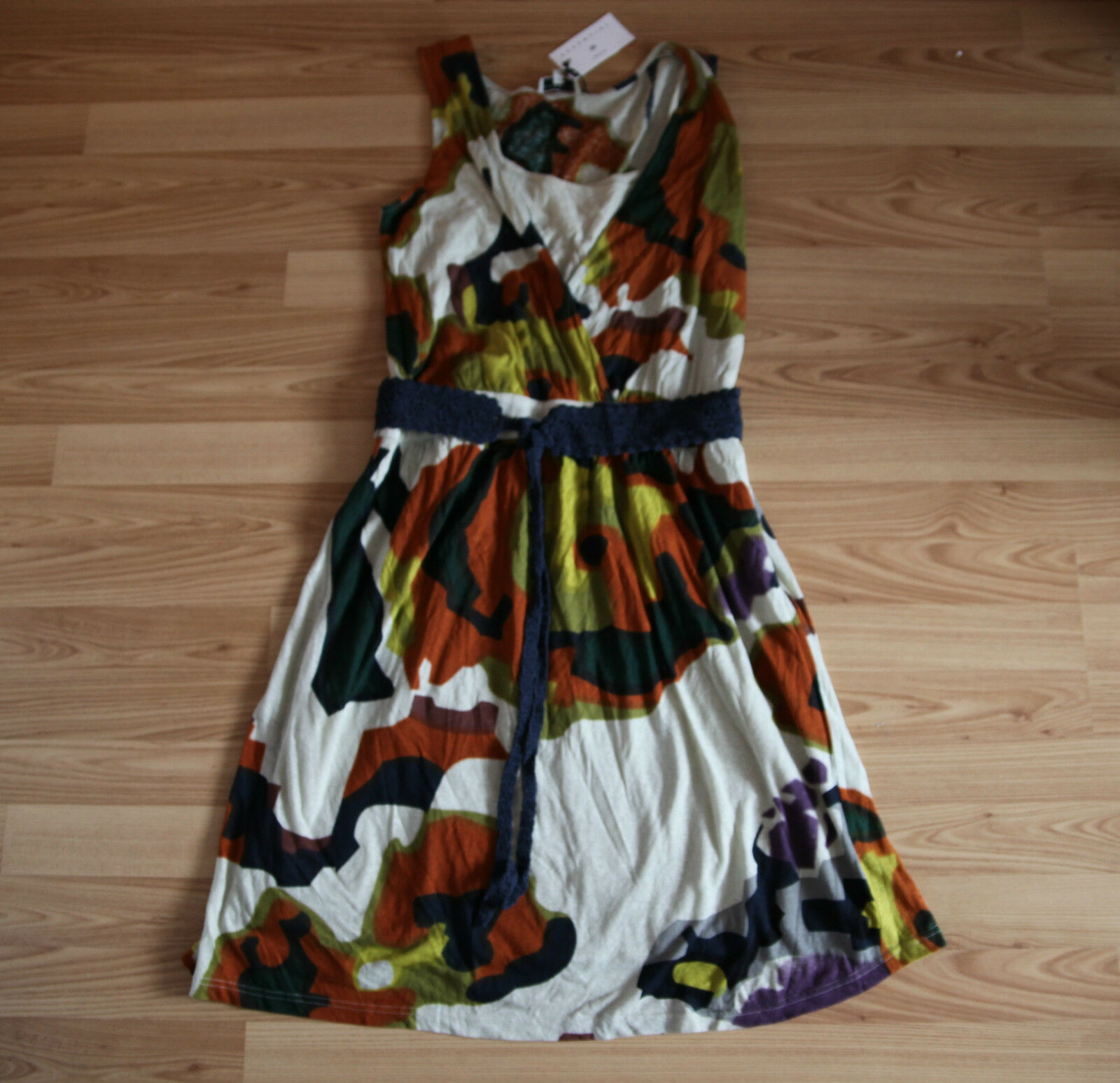 NUOVO essentiel elegante abito dress Ethno look PRINT PRINT PRINT con häkelgürtel XL 2ef3e3