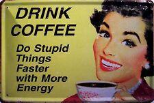 Caffè Caffè Motivo 3 Piastra Metallo Metallo Metallo Stagno Firmare 20 x 30 cm