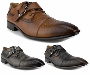 Men's Leather Lined Monk Strap Lace Up Oxfords Dress Shoes 97711