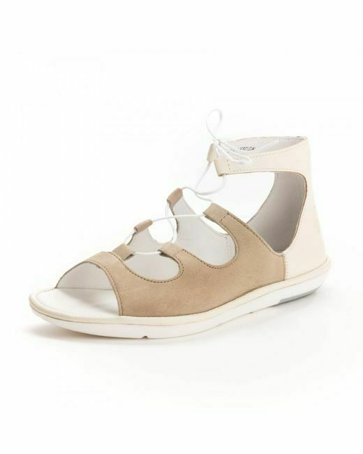 Complexé Fly London Mura895fly Cloud / Off-white Leather Sandals Uk 7 Eur 40 Bnib Rrp £90