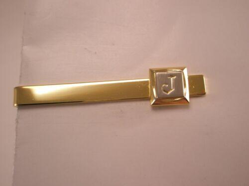 Vintage SWANK Initial J Tie Clip Silver-Tone Letter J on Gold-Tone Clip
