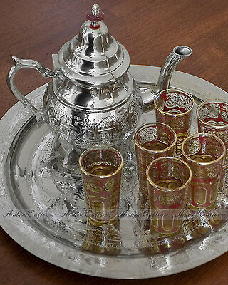 LARGE Moroccan Alpaca Silver Tea Set with Teapot, Tray & 6 RED Tea Glasses
