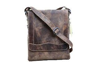 HUNT-Schultertasche-I-Pad-Tasche-Cross-Body-Bag-Bueffelleder-Vintage-D-Braun