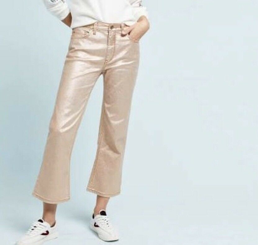 NEW ANTHROPOLOGIE by PILCRO Women's Jeans Coated High Rise Cropped  118