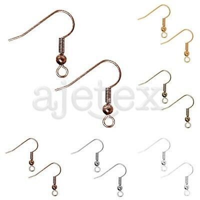 146x DIY Antique Copper Jewelry Making Flat Coil Earring Hook Ear Wires 30g 18mm