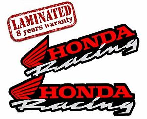 2 Vinyl Stickers Honda Racing Auto Moto Motorcycle Motocross Car