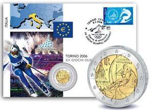 2-EUROS-NUMISBRIEF-ITALIE-JEUX-OLYMPIQUES-DE-TURIN-2006-RARE
