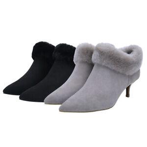 Nock-UGG-Women-Fur-Ankle-Pointed-Heel-Boots-Leather-Upper-Australian-Sheepskin