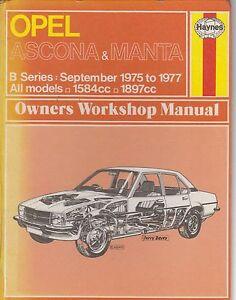 opel manta b coupe 1 6 1 9 1975 1977 owners workshop manual rh ebay co uk Opel Manta Opel Ascona C