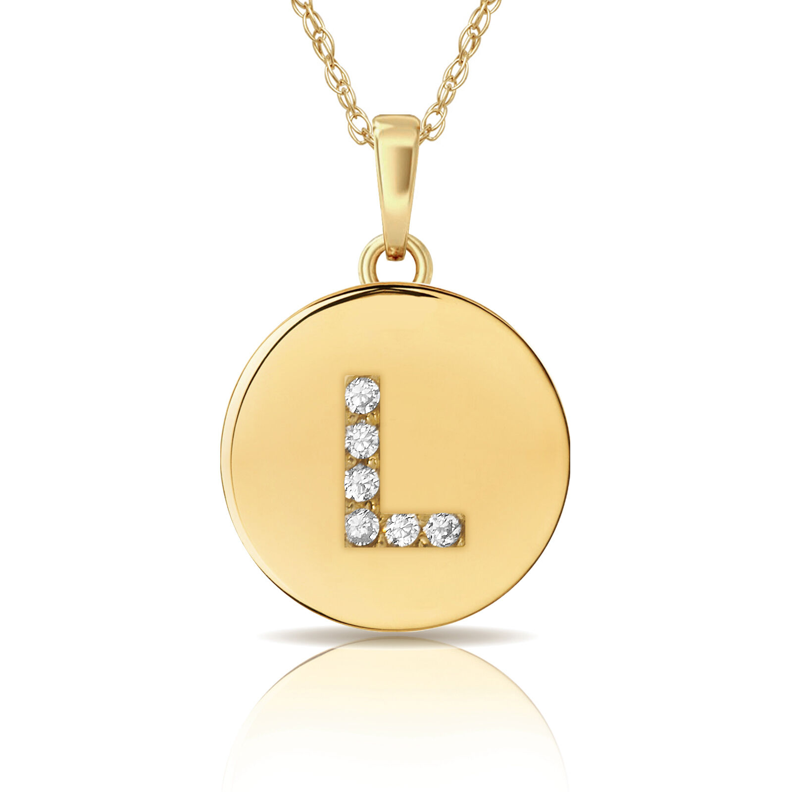 14K Yellow gold Round Solitaire Disc Initial Letter  L  Flat Pendant 0.20Ct